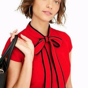 J Crew | Tie-neck Dress | Bright Cerise Red